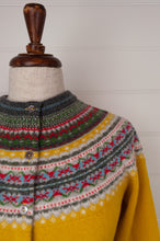 Load image into Gallery viewer, Made in Scotland, Eribé pure wool fairisle cardigan in Picalilli, golden mustard with patterned yoke and trim in vermilion red, leaf green, sky blue, white and charcoal.