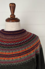 Load image into Gallery viewer, Made in Scotland, Eribé pure wool fairisle regular fit sweater  in Autumn, deep olive with patterned yoke and trim in shades of orange, red, burgundy, fuchsia pink and green grey.