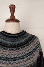 Load image into Gallery viewer, Made in Scotland, Eribé pure wool fairisle regular fit sweater  in Colliery, charcoal grey with patterned yoke and trim in shades of oatmeal, teal and soft blue greys and black.