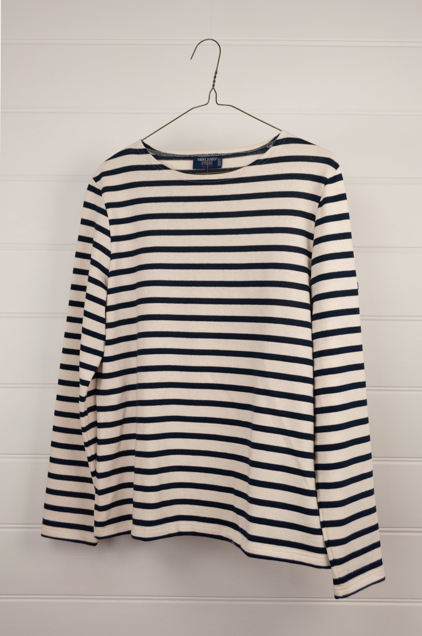 Saint James classic Meridame blue and ecru striped fisherman's long sleeved t-shirt, made in France.