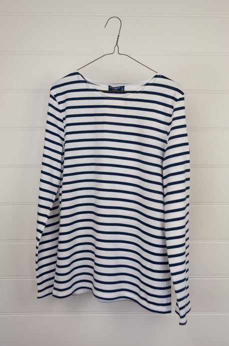 Saint James blue and white striped t-shirt, made in France.