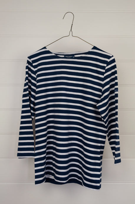 Classic Saint James white on blue striped three quarter sleeve slim fit t-shirt, made in France.