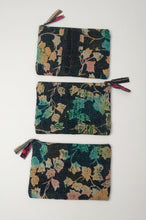 Load image into Gallery viewer, Vintage kantha zippered pouch, with aqua, pink and yellow leaves on an indigo background.