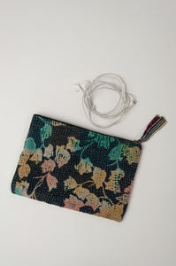Vintage kantha zippered pouch, with aqua, pink and yellow leaves on an indigo background.