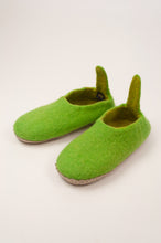 Load image into Gallery viewer, Fair trade pure wool felt slippers, pull on style with tab, in lime green.