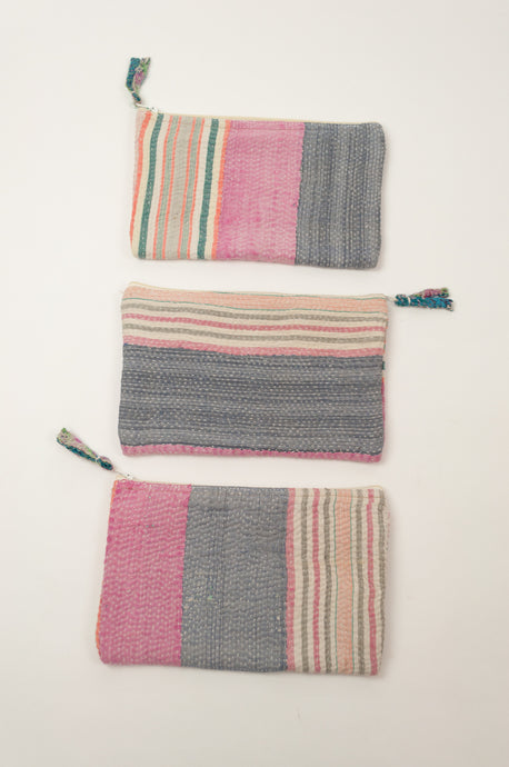 Vintage kantha zippered pouch, pink and grey and multi-coloured stripes, two internal sections.