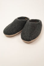 Load image into Gallery viewer, Fair trade handmade wool felt slippers, slip on charcoal.