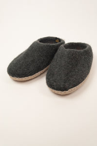 Fair trade handmade wool felt slippers, slip on charcoal.