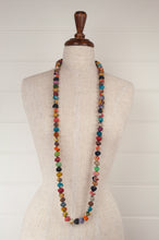 Load image into Gallery viewer, Handmade fabric necklace from Yavi, India, constructed from brightly coloured fabric remnants, kantha stitched.