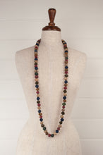 Load image into Gallery viewer, This beautiful necklace is made from handpainted fabric remnants, each bead formed by hand, filled with smaller pieces of fabric and thread, in earthy tones.
