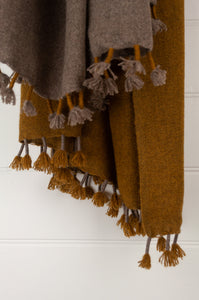 Baby yak wool handwoven tasseled throw rug in mustard yellow ombre fading to natural.