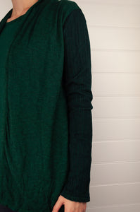 Valia ribbed sleeve cardigan jacket  in wool polyamide knit, emerald green (close up).