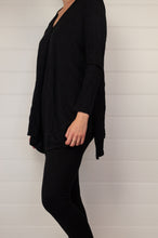 Load image into Gallery viewer, Valia Campbell tunic in black polyamide knit V neck A line loose fitting with side splits.
