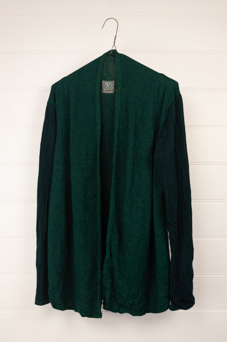 Valia ribbed sleeve cardigan jacket  in wool polyamide knit, emerald green.