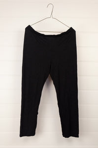 Valia black wool polyamide straight leg knit pant.
