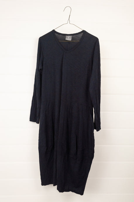 Valia Florence dress in ink blue navy wool polyamide wool knit, knee length with pockets.