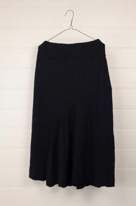 Valia merino wool polyamide knit A line long skirt in ink navy.