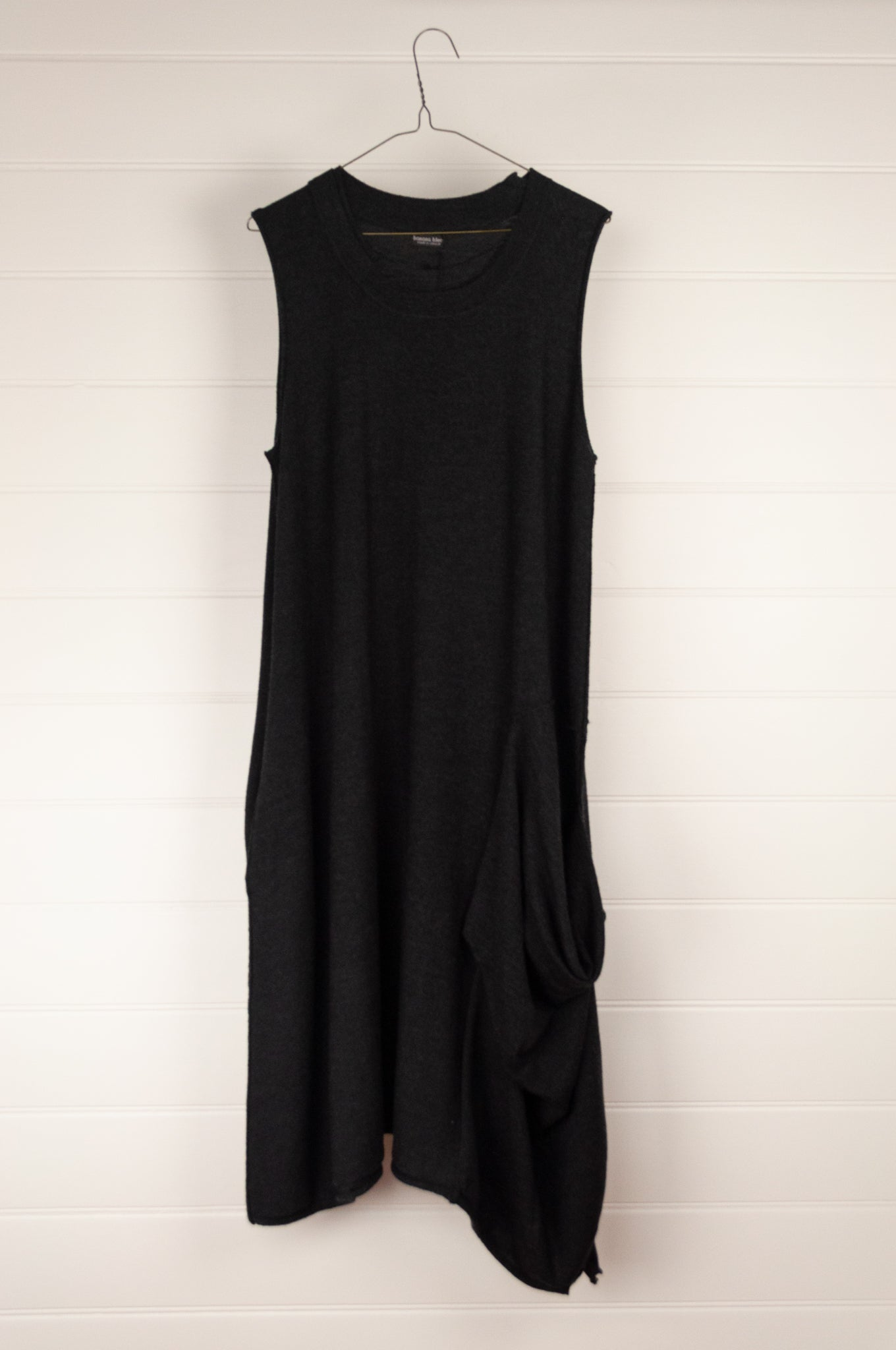 Banana Blue charcoal superfine merino wool pinafore camisole dress with pockets and folded panel detail.