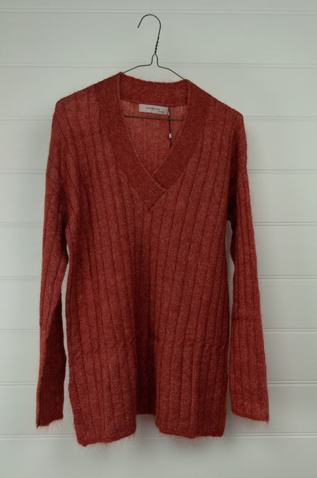 NOA NOA Essential melange v neck rib sweater in Etruscan red with cable detail.