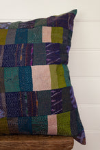 Load image into Gallery viewer, Vintage silk kantha square patchwork cushion in ecru, olive green and teal, with patches of navy ikat.