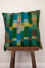 Load image into Gallery viewer, Vintage silk kantha square cushion is in shades of green, aqua, lime and sky blue.
