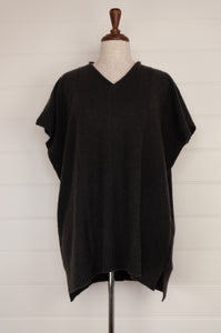 Juniper Hearth baby yak Mila sleeveless v-neck tunic in charcoal.