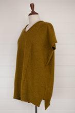 Load image into Gallery viewer, Juniper Hearth baby yak wool tunic in yellow olive green.