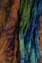 Load image into Gallery viewer, Juniper Hearth silk scarf, marbled digital print in jewel tones, amber emerald, sapphire, aquamarine.