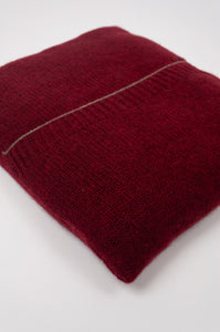Juniper Hearth baby yak poncho in Cherry Red (close up, in pouch).