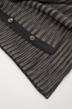 Load image into Gallery viewer, Juniper Hearth baby yak wool poncho in natural and charcoal ikat design (close up).