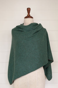 Juniper Hearth baby yak poncho in Opal, a shade of blue green.