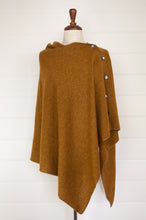 Load image into Gallery viewer, Juniper Hearth baby yak wool poncho in Maize, a deep mustard gold.