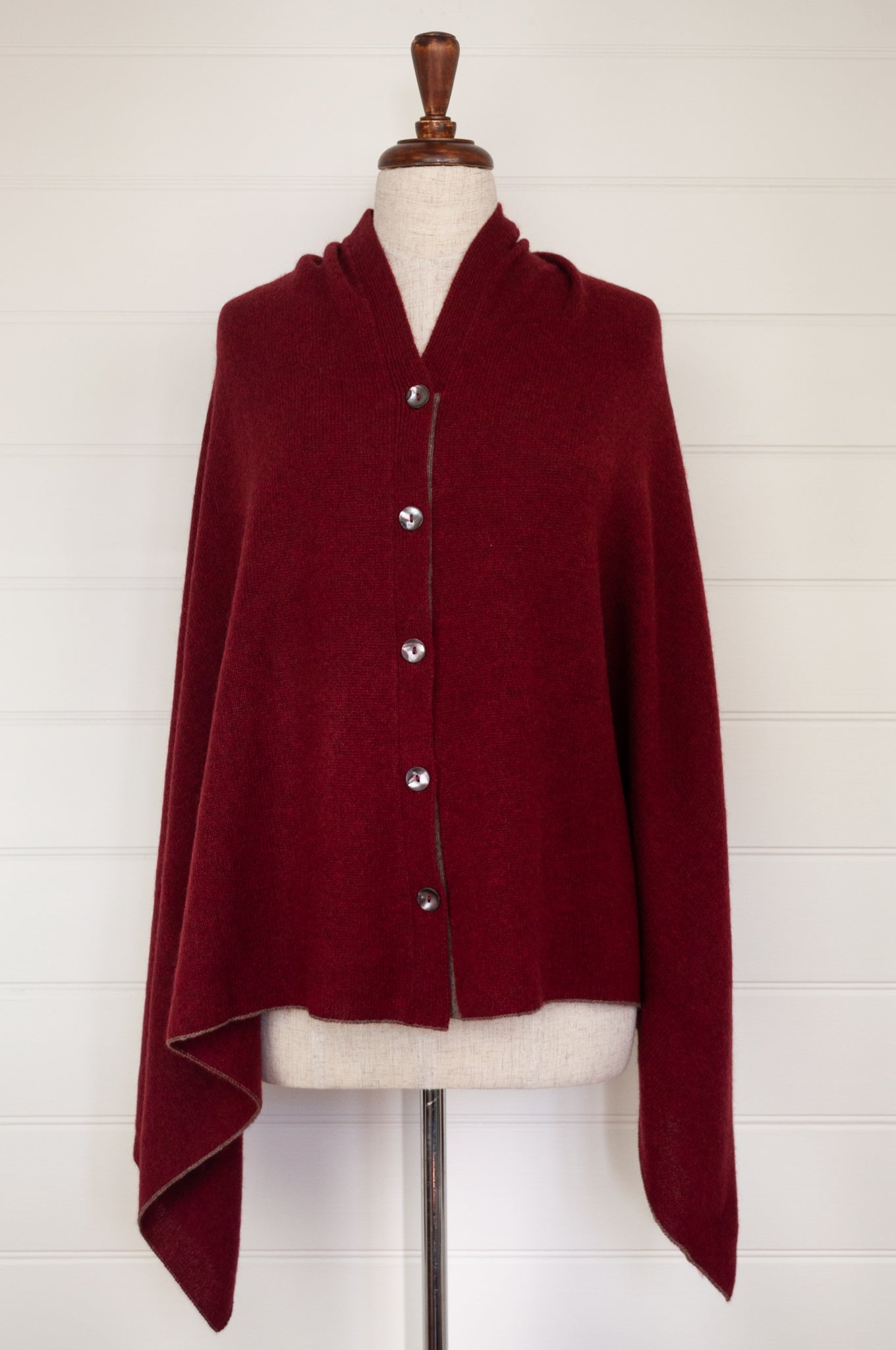 Juniper Hearth baby yak poncho in Cherry Red.