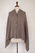 Load image into Gallery viewer, Juniper Hearth baby yak wool poncho in natural with grey edge and binding.