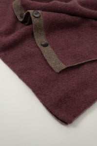 Juniper Hearth baby yak wool poncho in light plum, close up.