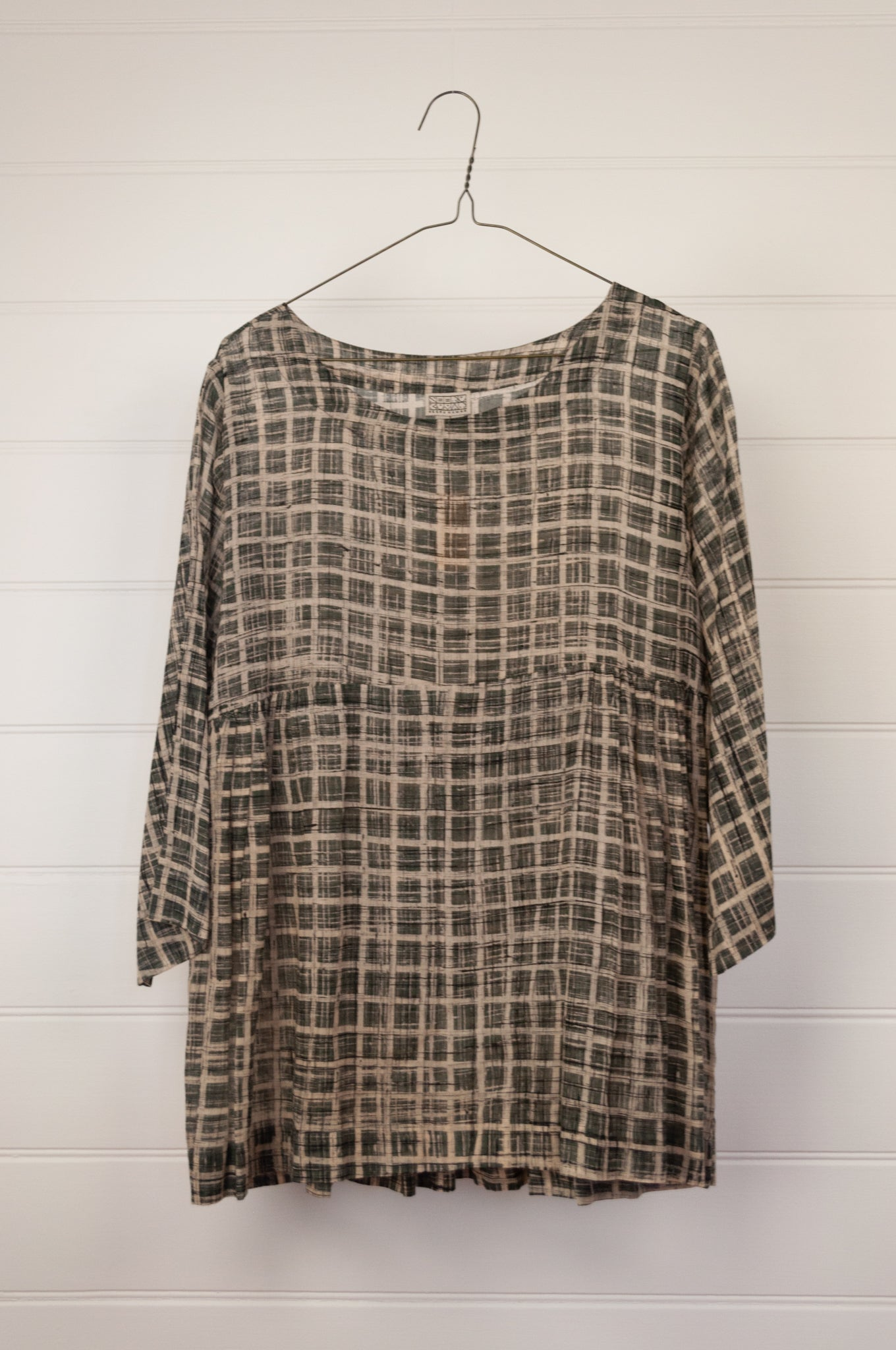Neeru Kumar hand painted cotton voile smock top, in grey with ecru and black grid pattern.