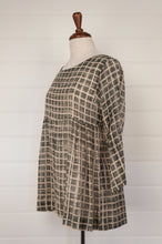 Load image into Gallery viewer, Neeru Kumar hand painted cotton voile smock top, in grey with ecru and black grid pattern.