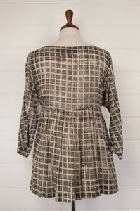 Neeru Kumar hand painted cotton voile smock top, in grey with ecru and black grid pattern (rear)