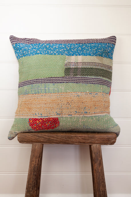 Vintage kantha quilt cushion cover in stripes and patches.