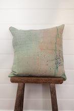 Load image into Gallery viewer, Vintage kantha cushion cover in soft mint and apricot.