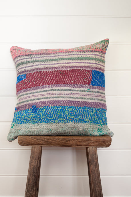 Vintage kantha cushion - flowers and stripes