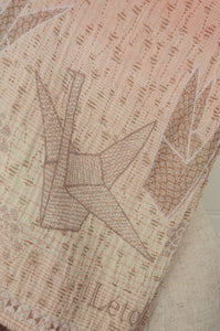Létol organic cotton jacquard scarf, made in France, Liselotte in blush.
