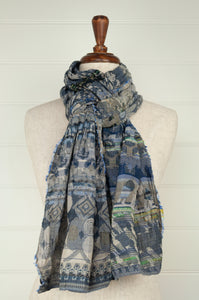 Létol organic cotton jacquard scarf, made in France, Edith in jean, denim blue.