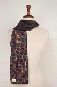 Sophie Digard Watch and Touch medium crochet scarf, merino wool in shades of  navy, chocolate, red, gold, olive.