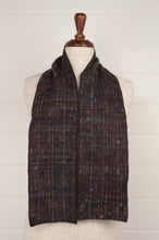 Load image into Gallery viewer, Sophie Digard Watch and Touch medium crochet scarf, merino wool in shades of  navy, chocolate, red, gold, olive.