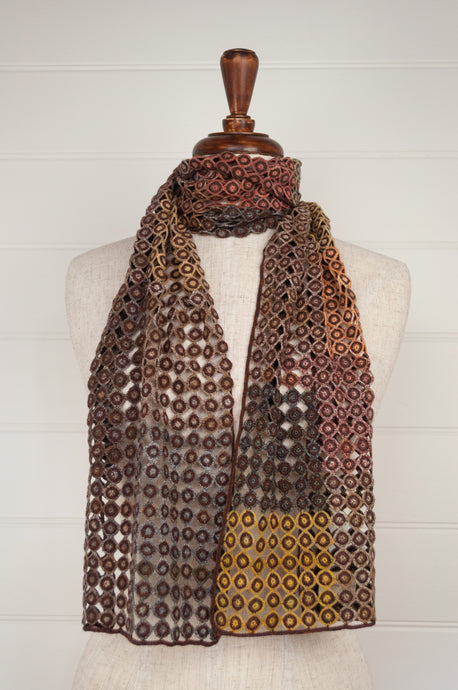 Sophie Digard Pigment embroidered wool scarf in the Earth palette.
