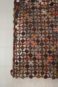 Sophie Digard crocheted wool scarf, Way of Life in the Earth palette of browns.