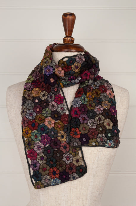 Sophie Digard Freesias medium crochet scarf, merino wool in shades of navy, chocolate, red, gold, olive.