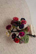 Load image into Gallery viewer, Sophie Digard Immortelle velvet brooch in bright wintery tones of pink, red, blue and green.