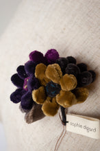 Load image into Gallery viewer, Sophie Digard Jonquille velvet brooch in wintery tones of mustard, purple, navy.